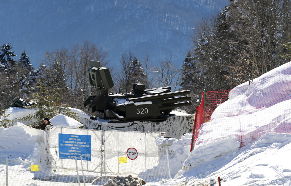 Photo - An anti-aircraft missile base sits outside the cross-country skiing venue prior to the 2014 Winter Olympics, Thursday, Feb. 6, 2014, in Krasnaya Polyana, Russia. (AP Photo)
