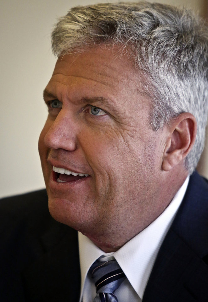 New York Jets head coach Rex Ryan speaks during an interview on Friday, May 3, 2013 in New York.  (AP Photo/Bebeto Matthews)