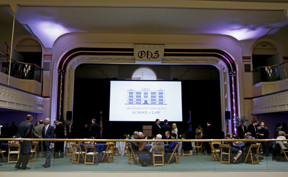A crowd sits inside the old Central High School on Wednesday, April 10, 2013 in Oklahoma City, during a reception and tour for the Oklahoma City University School of Law that will be moving into the building in 2014. Photo by Bryan Terry, The Oklahoman