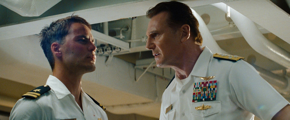 "From left, Hopper (Taylor Kitsch) takes orders from Admiral Shane (Liam Neeson) in ""Battleship"", an action-adventure based on the venerable board game. Universal Pictures photo <strong>Photo Credit: Universal Pictures</strong>"