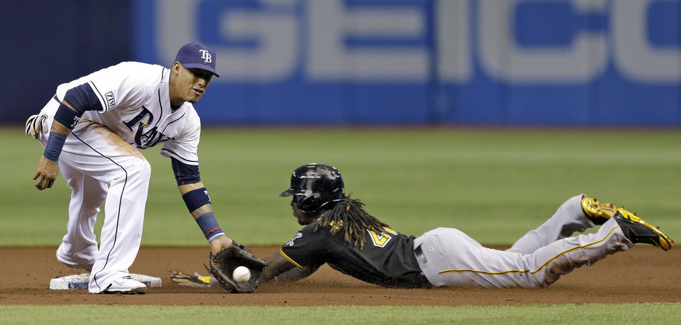 Photo - Tampa Bay Rays shortstop Yunel Escobar, left, fields a late throw as Pittsburgh Pirates' Andrew McCutchen steals second base during the first inning of an interleague baseball game,  Monday, June 23, 2014, in St. Petersburg, Fla. (AP Photo/Chris O'Meara)
