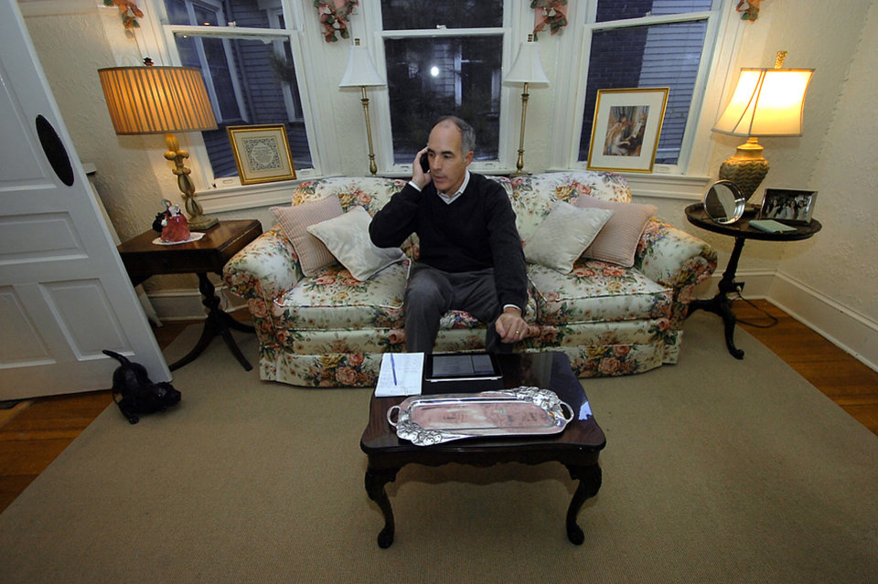 Sen. Bob Casey, D-Pa., talks with one of his campaign advisors regarding the election at his home in the Hill Section of Scranton, P., Tuesday, Nov. 6, 2012. Casey is seeking a second, six-year Senate term. (AP Photo/Scranton Times & Tribune,Butch Comegys ) WILKES BARRE TIMES-LEADER OUT; MANDATORY CREDIT