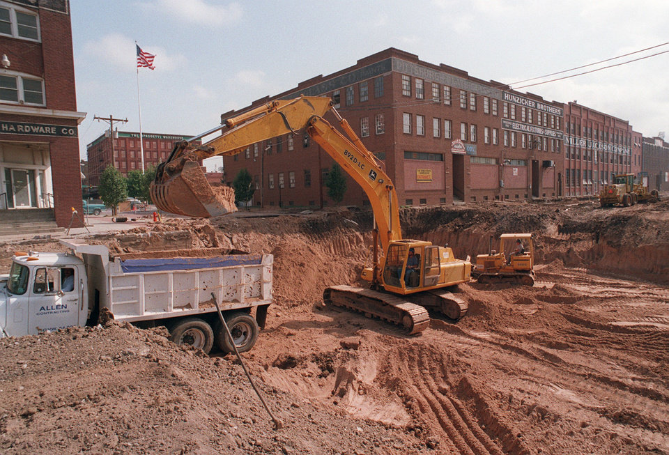 This 1998 photo shows construction on the Bricktown Canal, paid for by the original MAPS tax.  Oklahoman Archives Photo