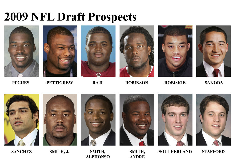 Photo - ** FOR USE AS DESIRED WITH NFL DRAFT STORIES ** FILE - In these university handouts and  file photos top college football prospects for the 2009 NFL Draft are shown. They are: Derek Pegues, Brandon Pettigrew, BJ Raji, Duke Robinson, Brian Robiskie, Louie Sakoda, Mark Sanchez, Jason Smith, Alphonso Smith, Andre Smith, Brennan Southerland and Matthew Stafford. (AP Photo) ** MAGS OUT. NO SALES, EDITORIAL USE ONLY ** ORG XMIT: NY158