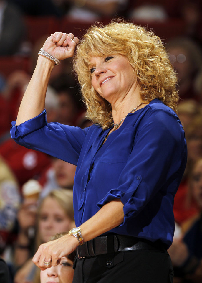 Sooner head coach Sherri Coale reacts to a three point basket during the second half as the University of Oklahoma Sooners (OU) play the Riverside Highlanders in NCAA, women's college basketball at The Lloyd Noble Center on Thursday, Dec. 20, 2012  in Norman, Okla. Photo by Steve Sisney, The Oklahoman