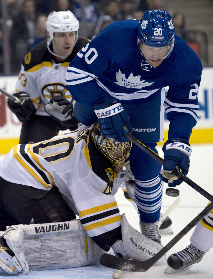 Photo - Toronto Maple Leafs center David Steckel (20) collides with Boston Bruins goaltender Tuukka Rask as they battle for the puck during the second period of an NHL hockey game in Toronto on Saturday, Feb. 2, 2013. (AP Photo/The Canadian Press, Frank Gunn)