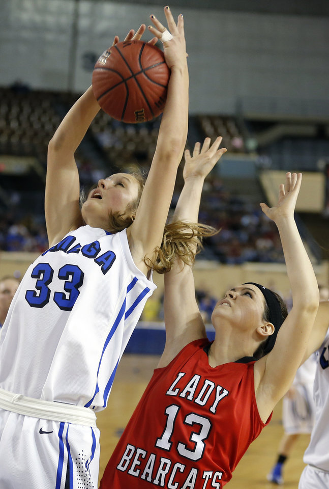 Lomega's Hailey Duffy fights for a rebound with Erick's Kelsey Brinkley during the Class B girls state championship between Erick and Lomega at the State Fair Arena., Saturday, March 2, 2013. Photo by Sarah Phipps, The Oklahoman