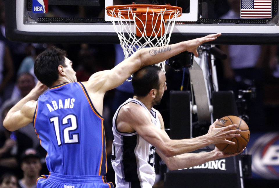 Photo - Oklahoma City's Steven Adams (12) defends against San Antonio's Manu Ginobili (20) during Game 2 of the Western Conference Finals in the NBA playoffs between the Oklahoma City Thunder and the San Antonio Spurs at the AT&T Center in San Antonio, Wednesday, May 21, 2014. Photo by Sarah Phipps