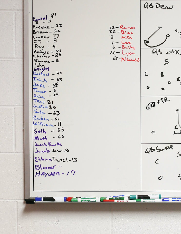 "Photo -  A list of Prague football players and their numbers is written on a whiteboard Wednesday in the office of coach Shannon Watford in Prague. The list is missing No. 45 which would have been worn by Emmanuel ""EJ"" Zenon, a 16-year-old player who was shot and killed in Oklahoma City. [Photo by Nate Billings, The Oklahoman]"