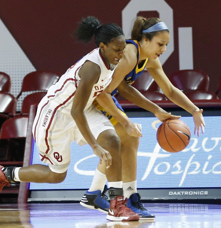 Oklahoma\'s Sharane Campbell (24) and Janelle Kearney (33) fight for a loose ball during the second half as the University of Oklahoma Sooners (OU) play the Riverside Highlanders in NCAA, women\'s college basketball at The Lloyd Noble Center on Thursday, Dec. 20, 2012 in Norman, Okla. Photo by Steve Sisney, The Oklahoman