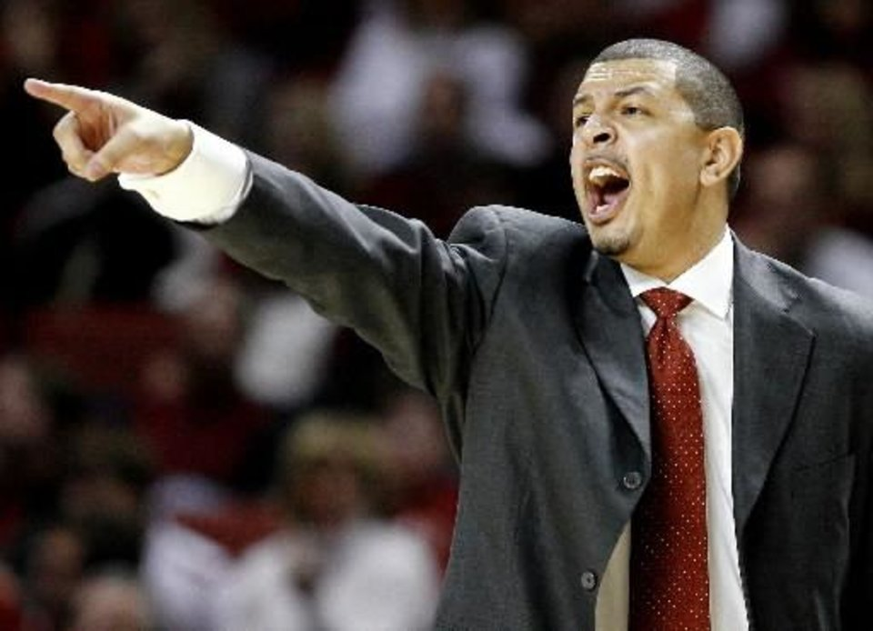 OU coach  Jeff  Capel shouts during the Big 12 college basketball game between the University of Oklahoma and Baylor University in Norman, Okla., Saturday, Jan. 24, 2009. PHOTO BY BRYAN TERRY