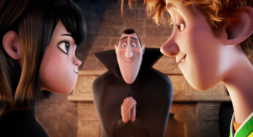 "Dracular (voiced by Adam Sandler) looks on with mixed feelings as his vampire daughter Mavis (Selena Gomez) and mortal human Jonathan (Andy Samberg) fall for each other in the Sony Pictures Animation film ""Hotel Transylvania."" COLUMBIA PICTURES PHOTO <strong></strong>"