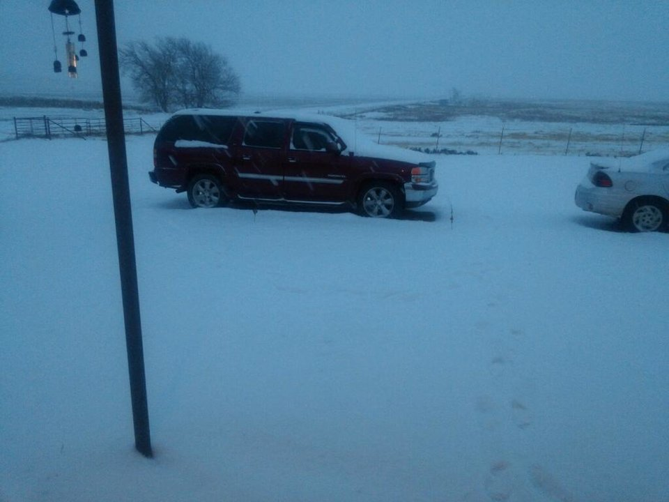 Photo - More than two inches of snow reported in Rocky, Oklahoma. Photo by James Paul Norris
