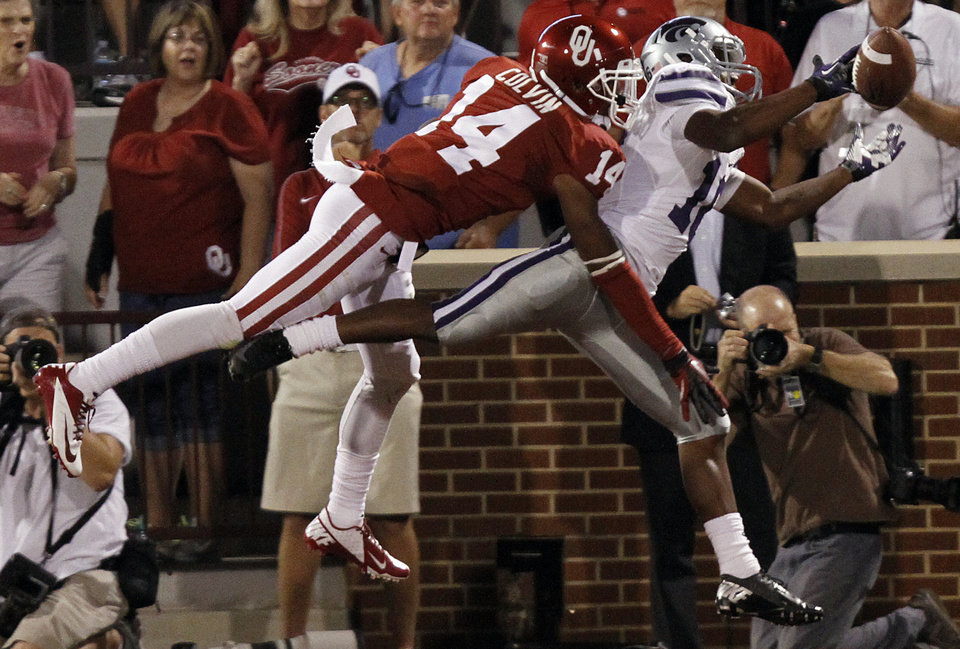 Oklahoma's Aaron Colvin (14) breaks up a pass for Kansas State's Tyler Lockett (16) during the college football game between the University of Oklahoma Sooners (OU) and the Kansas State University Wildcats (KSU) at the Gaylord Family-Memorial Stadium on Saturday, Sept. 22, 2012, in Norman, Okla. Photo by Chris Landsberger, The Oklahoman