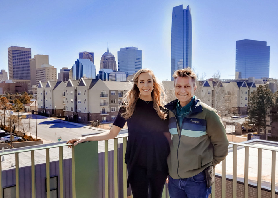 Photo -  Richard McKown and Kara Lewallen show off a balcony at the Bower, 625 NW 4. [Steve Lackmeyer/THE OKLAHOMAN]