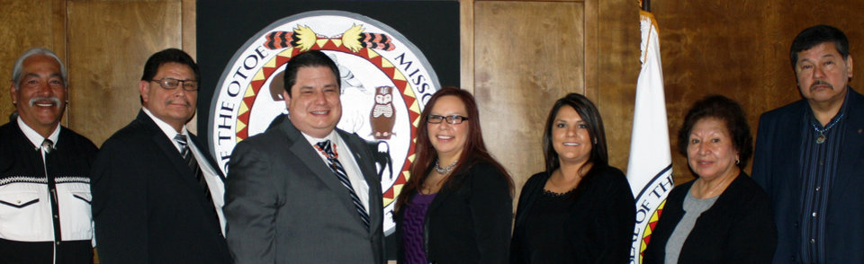 The winners of the Otoe-Missouria Tribal Council elections took their oath of office on Friday, Nov. 9, at the Tribal Complex at Red Rock. New Vice Chairman Ted Grant and Treasurer Courtney Burgess won their respective races in the Nov. 3 election, as did incumbent Alvin Moore. The Otoe-Missouria Tribal Council Members are (L to R) First Member Wesley Hudson, Vice Chairman Ted Grant, Chairman John Shotton, Treasurer Courtney Burgess, Second Member Melanie Harader, Secretary Barbara Childs-Walton and Third Member Alvin L. Moore. (Photo provided)