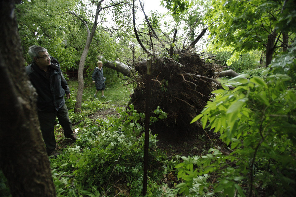 Photo - Dennis Frank and wife Jill Kendall maneuver through their back yard on Camden Way after a reported tornado that struck the west and central parts of town on Friday, April 13, 2012, in Norman, Okla.  Photo by Steve Sisney, The Oklahoman