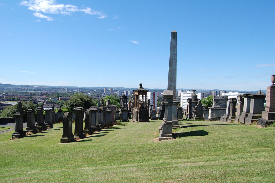 Photo - This undated photo provided by Glasgow City Marketing Bureau shows the Necropolis in Glasgow, Scotland, regarded as one of the most significant cemeteries in Europe. The immense Victorian monument garden of 37 acres provides a stunning elevated view of the city and is the final resting place of more than 50,000 people, many of them notable. Free walking tours are offered. (AP Photo/Glasgow City Marketing Bureau)