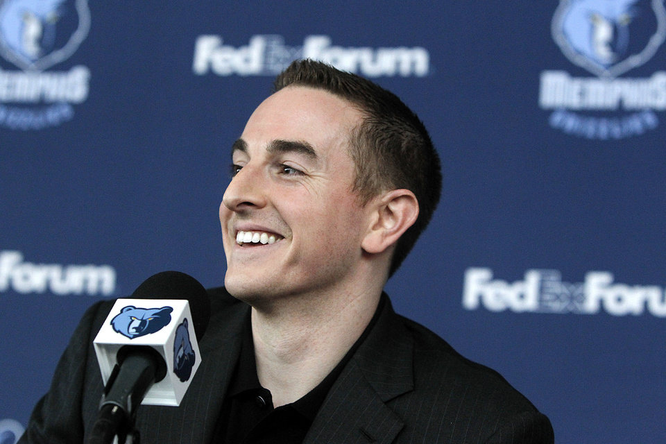 Memphis Grizzlies basketball new chairman Robert Pera smiles during a press conference in Memphis, Tenn., Monday, Nov. 5, 2012. (AP Photo/Lance Murphey)