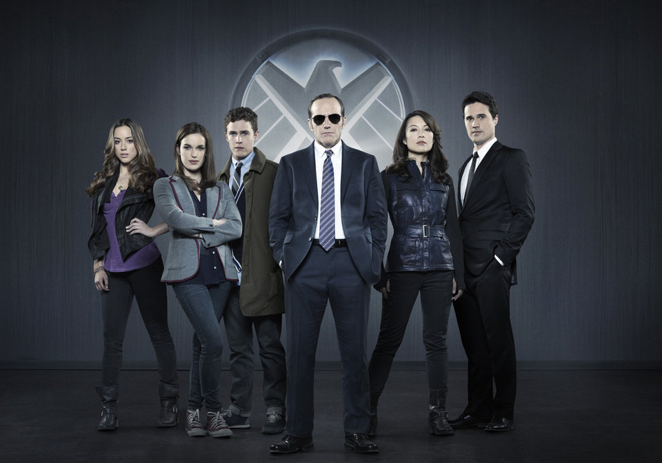 "This publicity photo released by ABC shows from left, Chloe Bennet, Elizabeth Henstridge, Iain De Caestecker, Clark Gregg, Ming-Na Wen, and Brett Dalton in Marvel's �Agents of S.H.I.E.L.D,"" produced by ABC Studios and Marvel Television. (AP Photo/ABC, Bob D'Amico)"