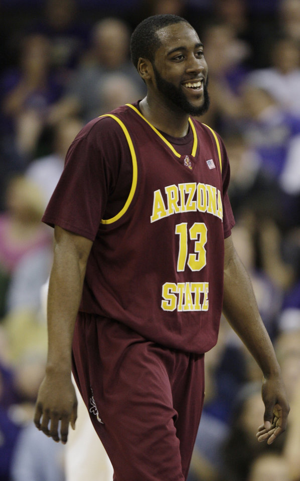 Photo - NBA DRAFT: Arizona State University's James Harden smiles during a break in an NCAA college basketball game against Washington on Feb. 26, 2009, in Seattle. Harden was named Pac-10 player of the year on Monday, March 9, 2009, after a vote of conference coaches. (AP Photo/Ted S. Warren) ORG XMIT: WATW101