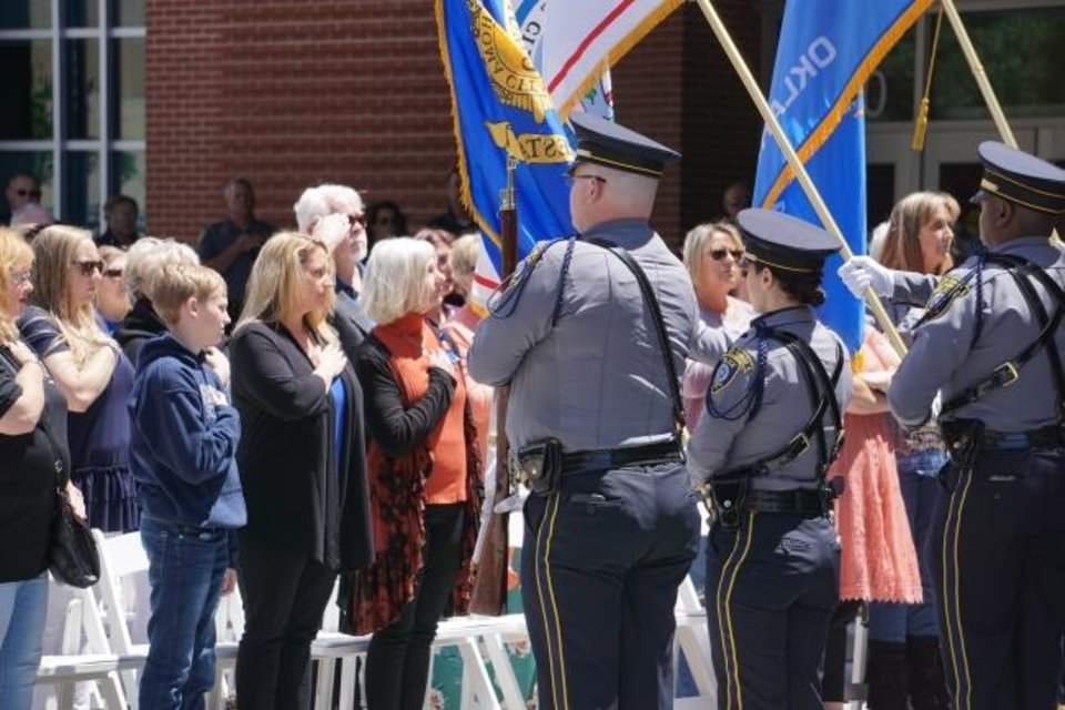 Photo -  Guests and members of the Oklahoma City Honor Guard at the Oklahoma City Police Memorial Service Friday. [Josh Wallace/The Oklahoman]