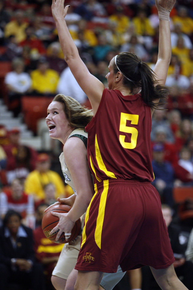 Baylor's Ashley Field tries to drive past Nicky Wieben (5) during the first half of the 2009 Big 12 Women's Basketball Championship game between Baylor University and Iowa State in the Cox Convention Center in Oklahoma City, Oklahoma, on Saturday, March 14, 2009. 