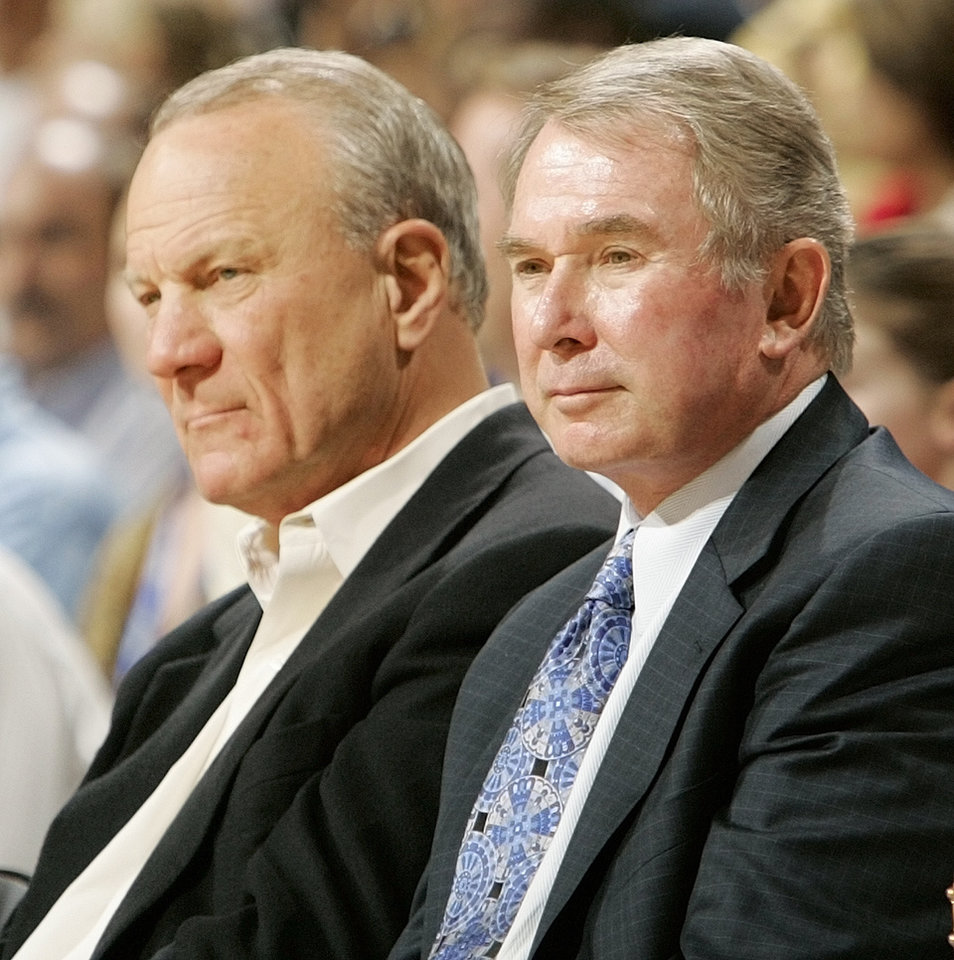 <strong>2006: Switzer and George Shinn</strong><br>  In this photo from 2006, Switze sits with former owner of the New Orleans Hornets George Shinn during a Hornets game in Oklahoma City. PHOTO BY NATE BILLINGS, The Oklahoman Archive