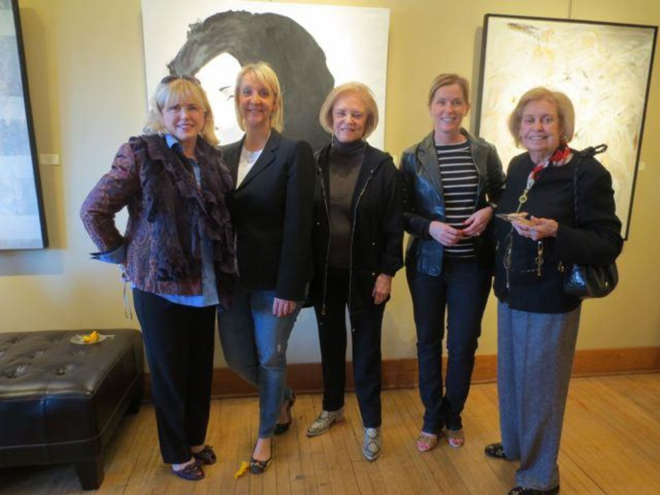 Linda Haneborg, Kelley Barnes, Pam Smith, Christine Eddington and Dannie Bea Hightower were at the JRB Art at the Elms Gallery party on New Year\'s Day. (Photo by Helen Ford Wallace).