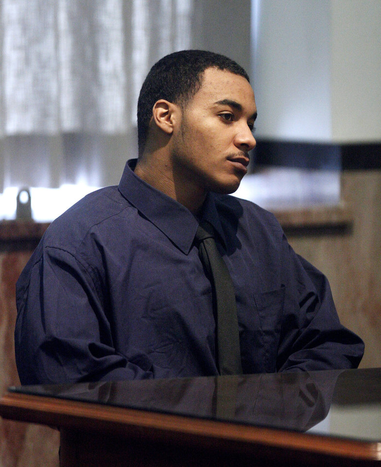Rayvon Johnson sits in the courtroom Monday during the start of jury selection for his trial at the Oklahoma County courthouse in Oklahoma City. Photo by Paul B. Southerland, The Oklahoman <strong>PAUL B. SOUTHERLAND - PAUL B. SOUTHERLAND</strong>