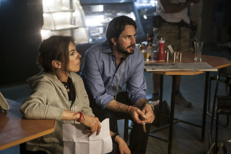 "Director-producer Kathryn Bigelow amd writer-producer Mark Boal on the set of ""Zero Dark Thirty."" COLUMBIA PICTURES PHOTO <strong></strong>"