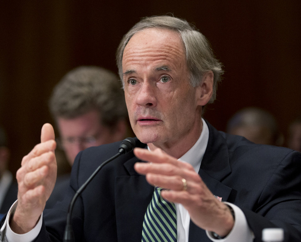 Sen. Thomas Carper, D-Del. testifies on Capitol Hill in Washington, Wednesday, Dec. 5, 2012, about the devastations of Superstorm Sandy in Delaware, before the Senate Homeland Security subcommittee hearing to examine Superstorm Sandy, focusing on response and recovery and progress and challenge.    (AP Photo/Manuel Balce Ceneta)