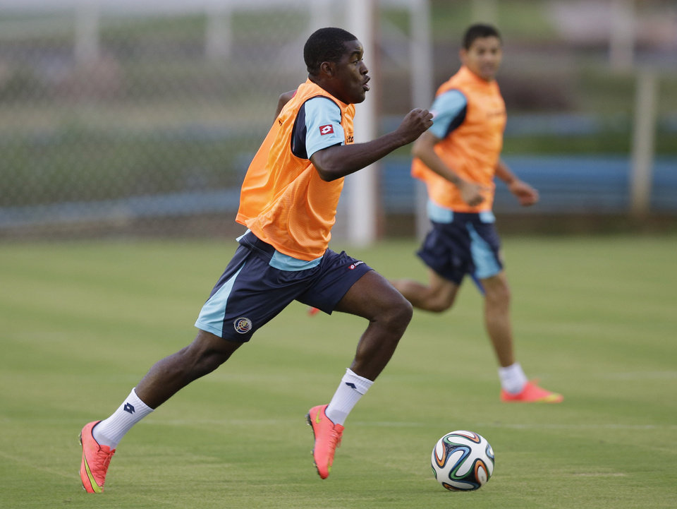 Photo - Costa Rica's Joel Campbell controls the ball during a training session of Costa Rica in, Recife, Brazil, Saturday, June 28, 2014. Costa Rica will play Greece in a World Cup round of 16 soccer match next June 29.(AP Photo/Andrew Medichini)
