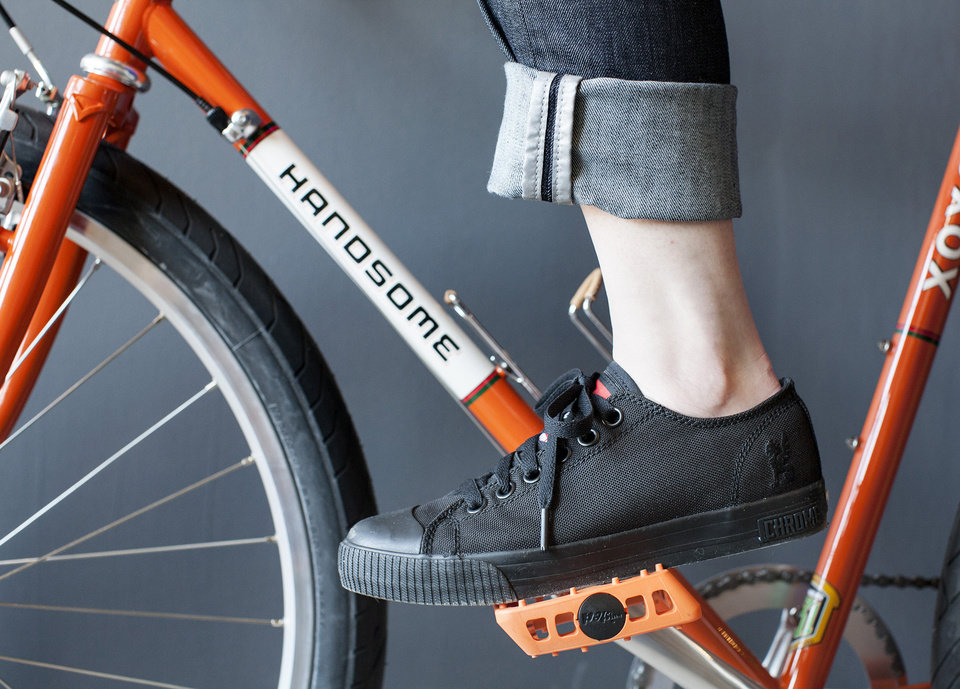 For those who use bicycles for commuting to work or errands, cycling fashion is going from spandex to multi-functional such as these water-resistant and odor-repellant denim jeans with reflective tape on the interior cuffs. (Courtney Perry/Minneapolis Star Tribune/MCT)