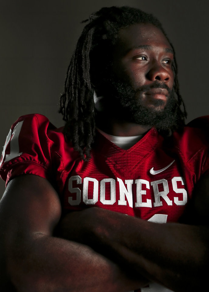 Photo - OU COLLEGE FOOTBALL: Defensive end Charles Tapper during the University of Oklahoma media day on Saturday, Aug. 4, 2013 in Norman, Okla.    Photo by Chris Landsberger, The Oklahoman
