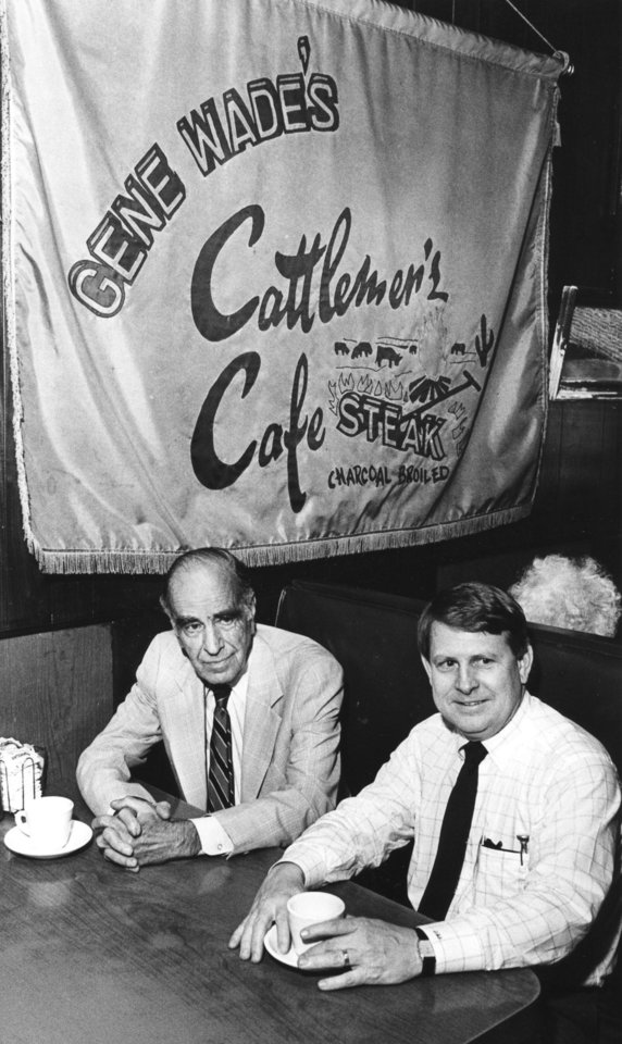 Gene Wade, left, longtime owner of Cattlemen's Cafe, relaxes in a booth at the restaurant with new owner Dick Stubbs in 1990.  OKLAHOMAN ARCHIVE PHOTO <strong>Paul Southerland - Staff Photo</strong>