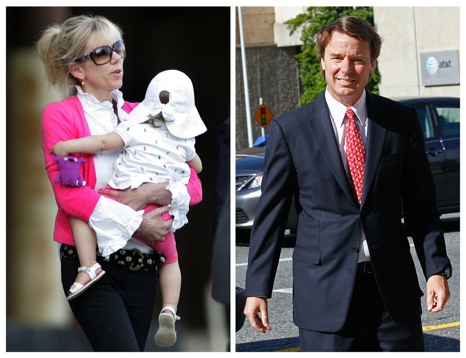 This photo combo shows Rielle Hunter, left, in an Aug. 6, 2009, file photo, and former U.S. senator and presidential candidate John Edwards in a May 10, 2012 file photo. Hunter billed herself a truth seeker. Then she met John Edwards in the bar of a New York City hotel in February 2006. Their relationship opened the door to a landslide of lies, most notably that the relationship existed at all, and that the child it produced was his. Edwards\' truthfulness now lies at the heart of his campaign finance trial, with the former Senator insisting he had no idea that money from a pair of wealthy benefactors was being spent to hide Hunter and keep her away from tabloids. (AP Photo/Jim R. Bounds, Gerry Broome)