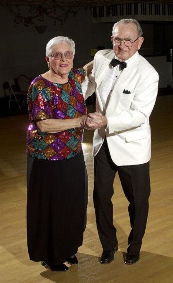 Photo -  Dick and Edna Lutz on the dance floor in 2011.  Photo by Jim Beckel, The Oklahoman Archives   JIM BECKEL