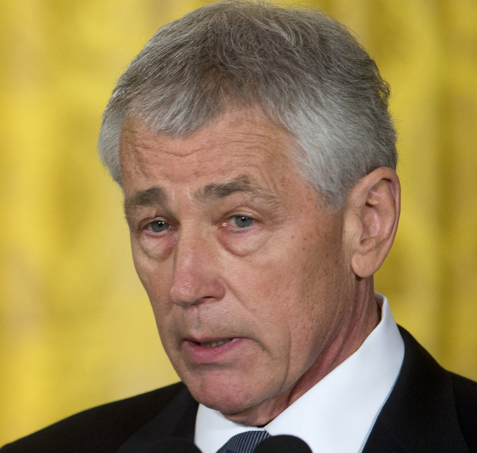Photo - FILE - This Jan. 7, 2013 file photo shows former Nebraska Sen. Chuck Hagel, president Barack Obama's choice for defense secretary, speaking in the East Room of the White House in Washington. Maine Sen. Angus King said Thursday that he sees no strong reason to oppose President Barack Obama's pick for secretary of defense.  (AP Photo/Carolyn Kaster, File)