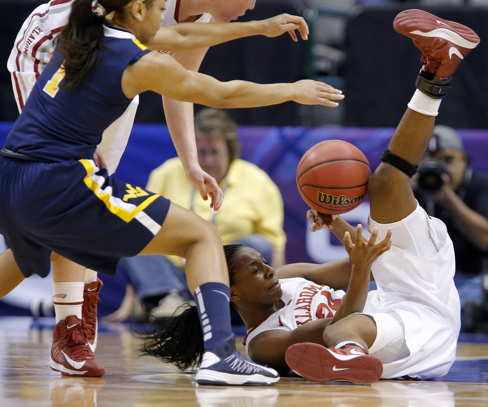 Oklahoma's Sharane Campbell (24) tries to pass the ball under West Virginia's Christal Caldwell (1) during the Big 12 tournament women's college basketball game between the University of Oklahoma and West Virginia at American Airlines Arena in Dallas, Saturday, March 9, 2012.  Photo by Bryan Terry, The Oklahoman