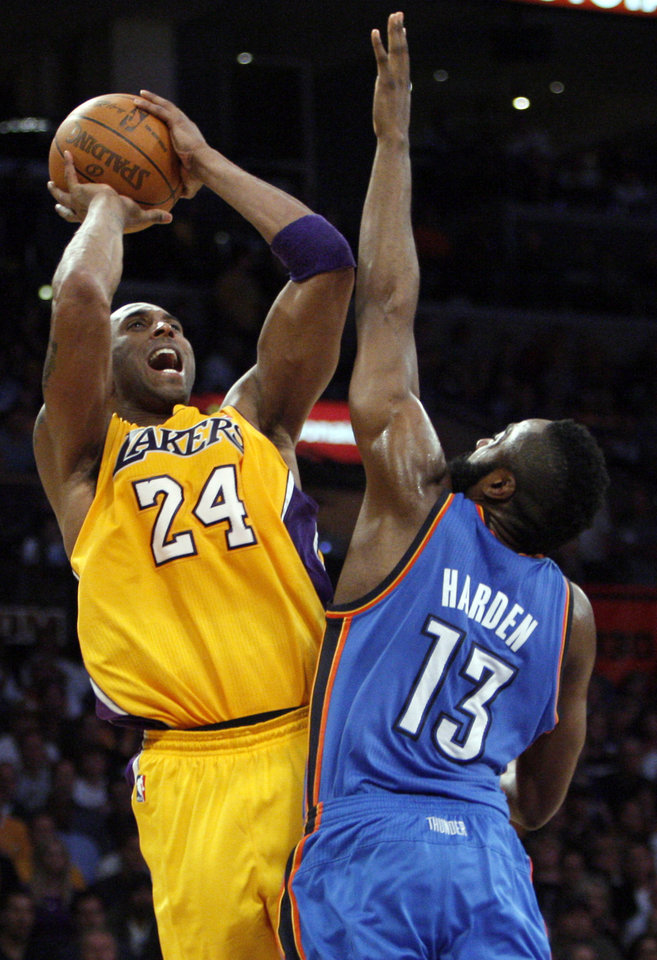 Photo - James Harden (13) guards against Los Angeles' Kobe Bryant (24) during Game 4 in the second round of the NBA basketball playoffs between the L.A. Lakers and the Oklahoma City Thunder at the Staples Center in Los Angeles, Saturday, May 19, 2012. Photo by Nate Billings, The Oklahoman