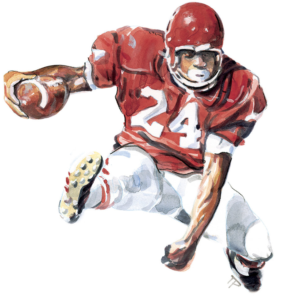 GRAPHIC/ILLUSTRATION/DRAWING:  Joe Washington, University of Oklahoma, OU football running back.  He played for the team during the years 1972 through 1975.