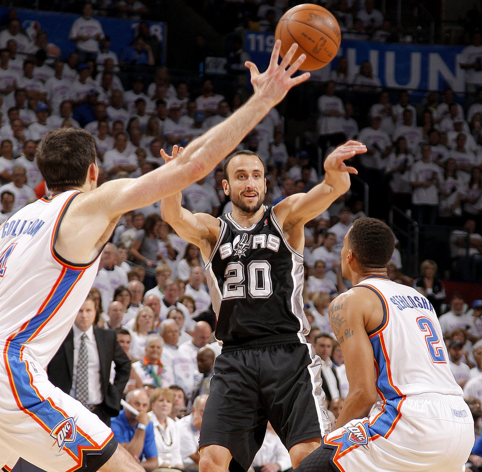 Photo - San Antonio's Manu Ginobili (20) passes between Oklahoma City's Nick Collison (4) and Thabo Sefolosha (2) during Game 6 of the Western Conference Finals between the Oklahoma City Thunder and the San Antonio Spurs in the NBA playoffs at the Chesapeake Energy Arena in Oklahoma City, Wednesday, June 6, 2012. Photo by Bryan Terry, The Oklahoman