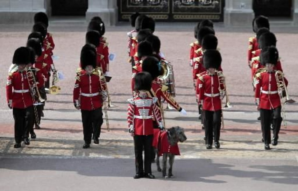 Photo - A British army band marches for the Changing of the Guard outside Buckingham Palace, in central London, Thursday April 28, 2011. Britain's Prince William and his fiance Kate Middleton marry on April 29, 2011. ((AP Photo/Lefteris Pitarakis)
