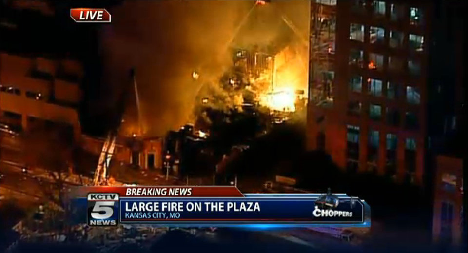 Photo - In this image taken from video from KCTV, firefighters battle a massive fire at Country Club Plaza in Kansas City, Mo. Tuesday, Feb. 19, 2013. (AP Photo/KCTV) MANDATORY CREDIT: KCTV