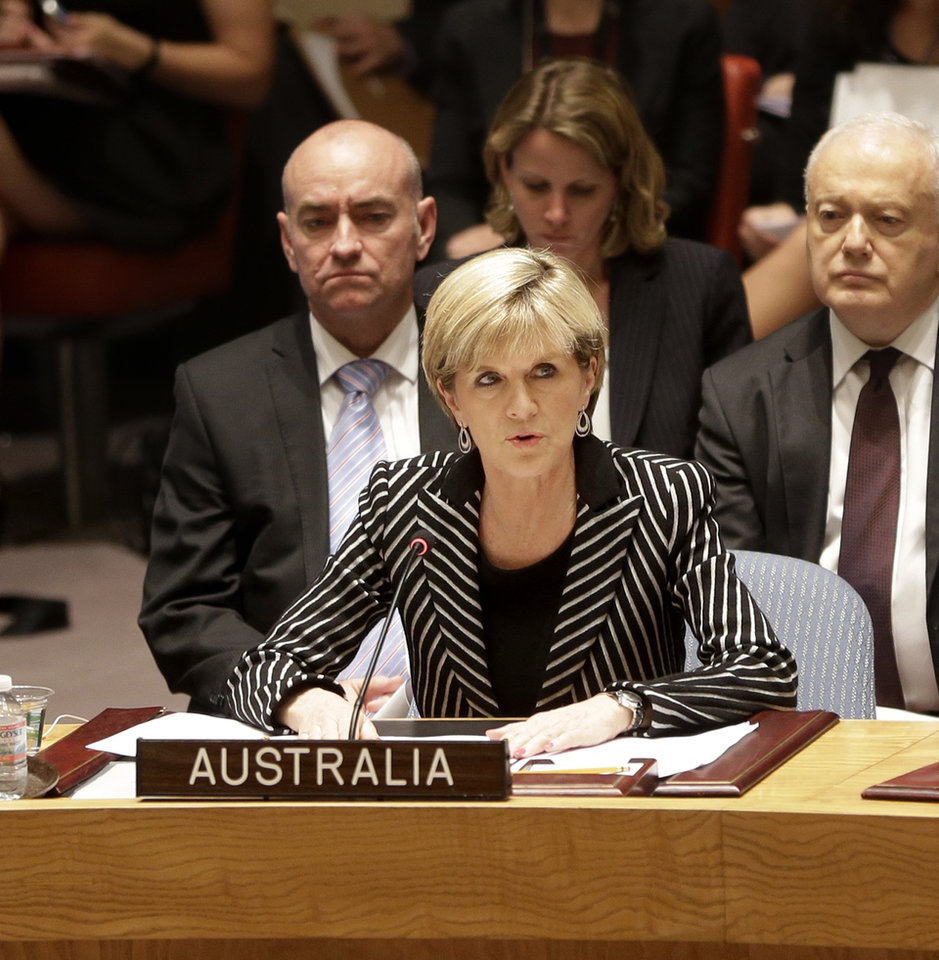 Photo - Julie Bishop, Australian Minister for Foreign Affairs, speaks during a security council meeting at United Nations headquarters, Monday, July 21, 2014. The council unanimously adopted a resolution demanding full access to the crash site of Malaysia Airlines flight MH17. (AP Photo/Seth Wenig)
