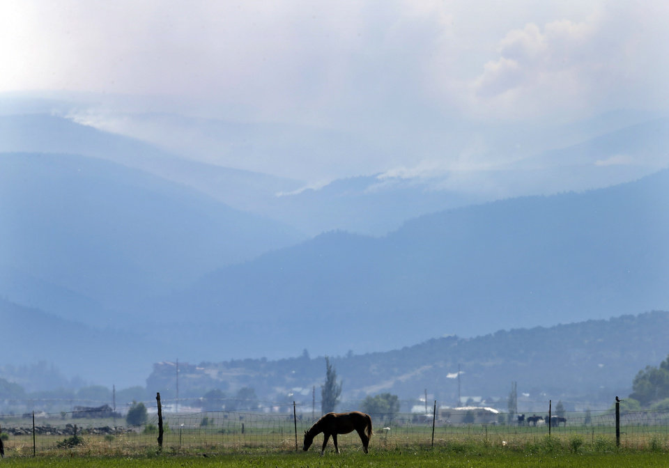 Photo - A horse grazes as smoke rises from a wildfire on Sunday, June 23, 2013, near Alpine, Colo. A large wildfire near a popular summer retreat in southern Colorado continues to be driven by winds and fueled by dead trees in a drought-stricken area, authorities said Sunday. (AP Photo/Gregory Bull)
