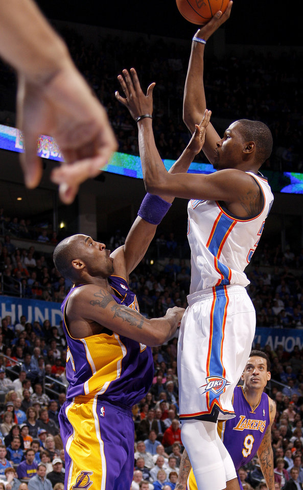 during an NBA basketball game between the Oklahoma City Thunder and the Los Angeles Lakers at Chesapeake Energy Arena in Oklahoma City, Thursday, Feb. 23, 2012. Photo by Bryan Terry, The Oklahoman