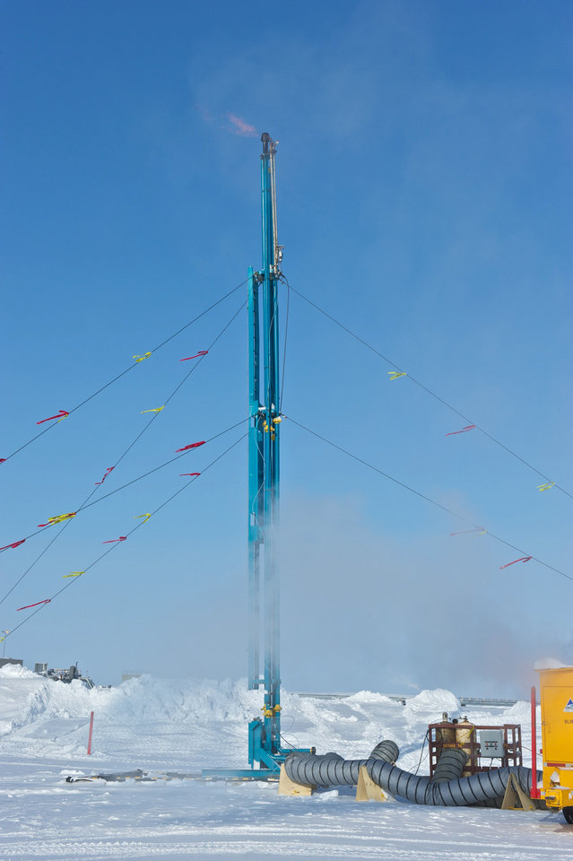In this 2012 photo provided by ConocoPhillips Alaska Inc., methane extracted from a hydrate well is burned at a drill site on Alaska's North Slope. A half mile below the ground at Prudhoe Bay, above the vast oil field that helped trigger construction of the trans-Alaska pipeline, a drill rig has tapped what might one day be the next big energy source. The U.S. Department of Energy and industry partners over two winters drilled into a reservoir of methane hydrate, which looks like ice but burns like a candle as warmth from a match releases methane molecules. (AP Photo/ConocoPhillips Alaska Inc., Garth Hannum)