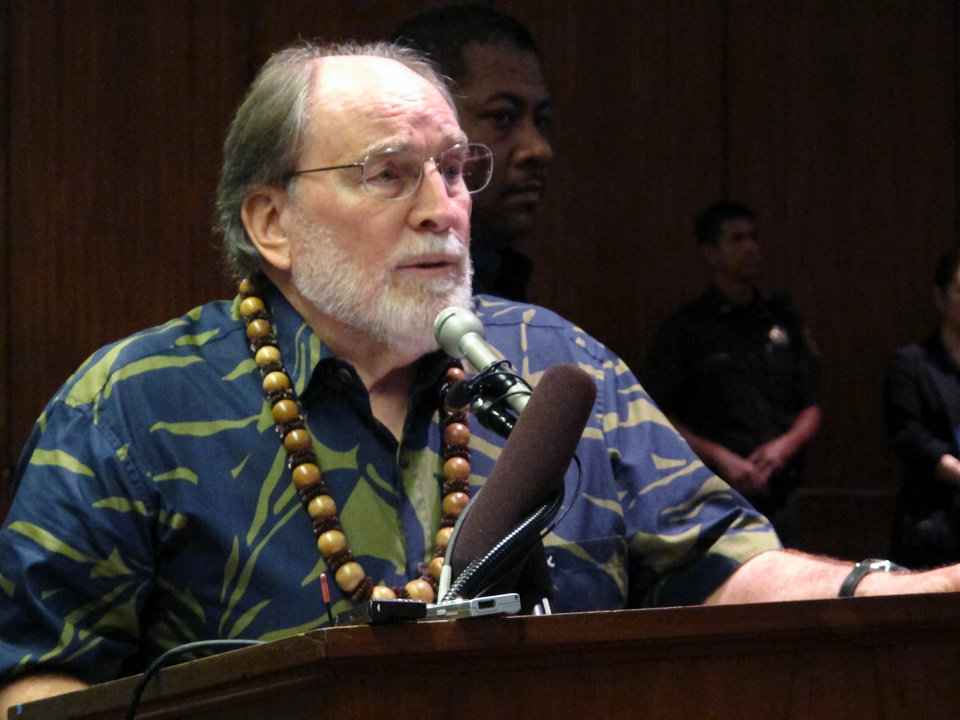 Photo - Hawaii Gov. Neil Abercrombie speaks at a Hawaii Senate committee hearing on gay marriage at the state Capitol in Honolulu on Monday, Oct. 28, 2013. Lawmakers on a Hawaii Senate committee are asking whether a gay marriage proposal will give anything more to couples than the convenience of getting married without having to leave the state. (AP Photo/Oskar Garcia)
